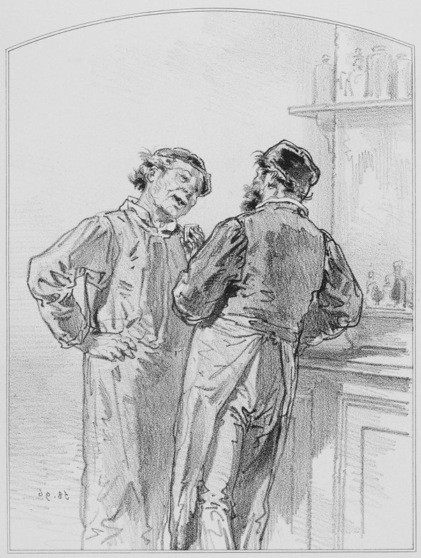 two men leaning against a bar, each wearing a cap and an apron; man at L holds a small glass in his PL hand
