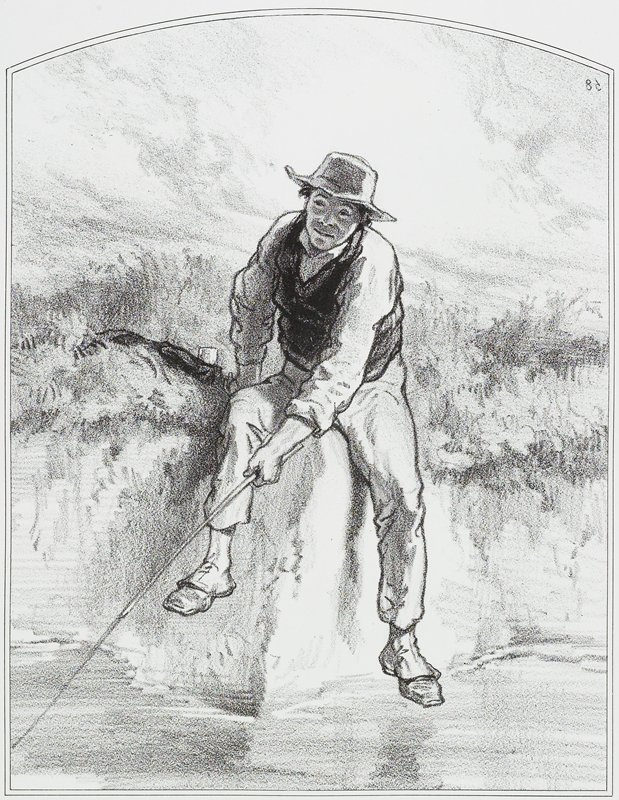man wearing hat, vest, shirt, slacks and spats, seated on a steep bank, fishing