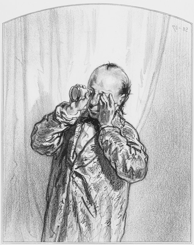balding man wearing a long jacket and bow tie, holding a scope up to his PR eye
