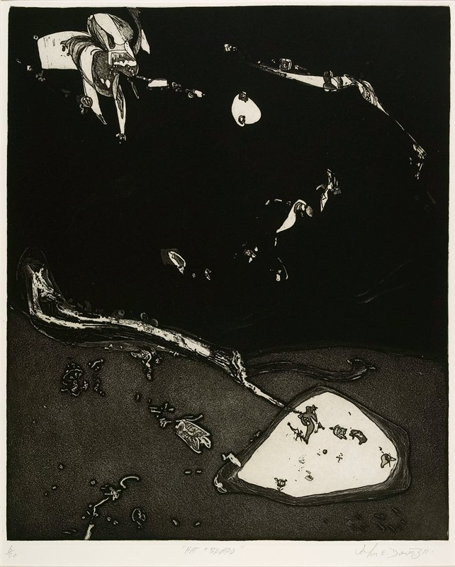 "abstract image printed in black; lighter ""ground"" area and dark ""sky""; insect-like shapes in ""sky,"" amoeba-like shapes in ""ground"""
