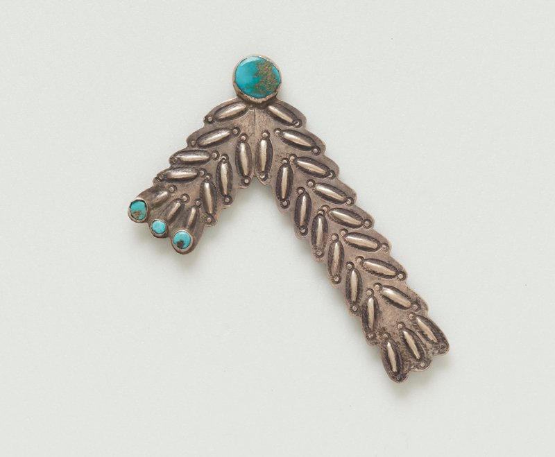 pair of collar points, chevron-shaped, silver; repousse and stamped designs; 3 blue turquoise at short end, 1 larger turquoise at angle; one turquoise loose in setting