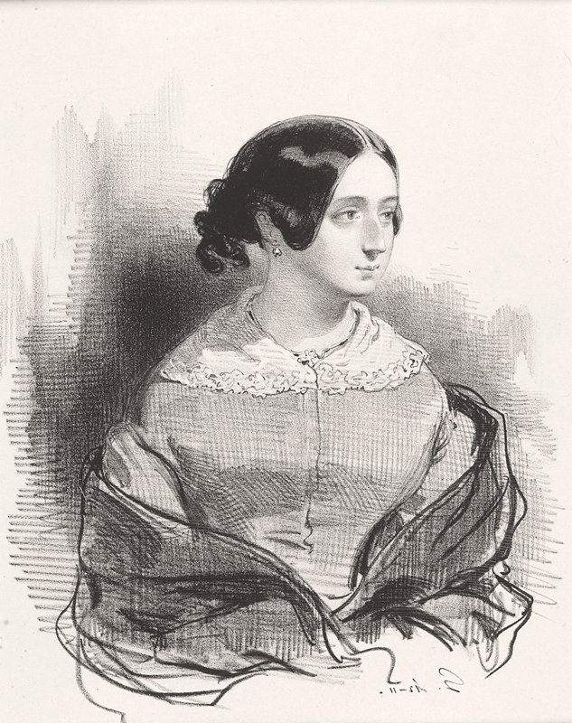 head and torso of a woman with her head turned to PL; woman wears lace-collared dress and dark shawl; woman has dark hair