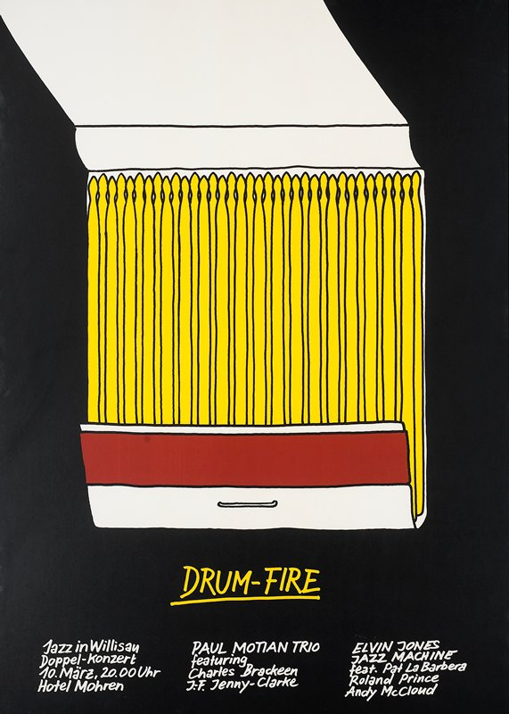 open matchbook with yellow matches against black background; black metal frame