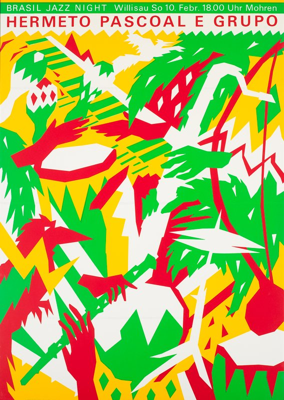 red, yellow and green abstracted hands and instruments of musicians