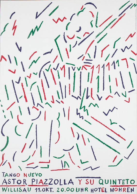 purple, red and green abstract line drawing on white background; silver metal frame