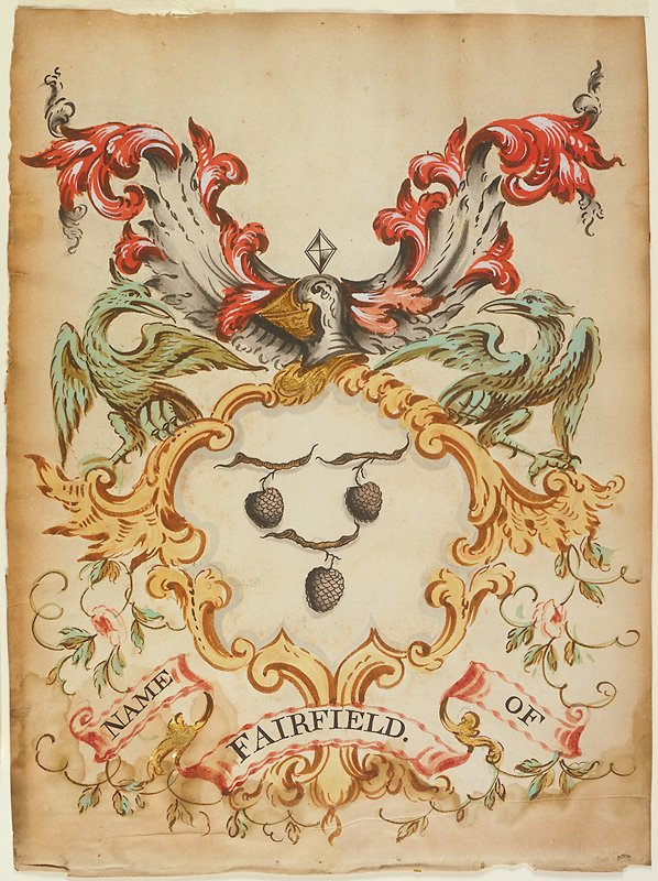Crest (Watercolor) name of Fairfield. The shield contains three acorns and is surmounted by a closed, side-faced helmet in blue and gold, flanked toward the top by two red plumes, and toward bottom by two green eagles. The shield is formed by brown sheaves of leaves entwined with floral sprays, and on the scroll are the words Name of Fairfield.