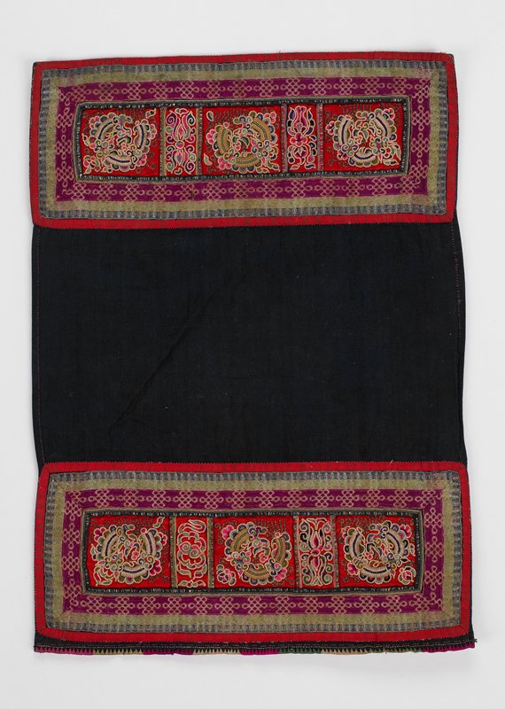 "black rectangle with approximately 6"" embroidered borders on long ends, strips of red silk in centers have 5 embroidered panels bordered by silk bands"
