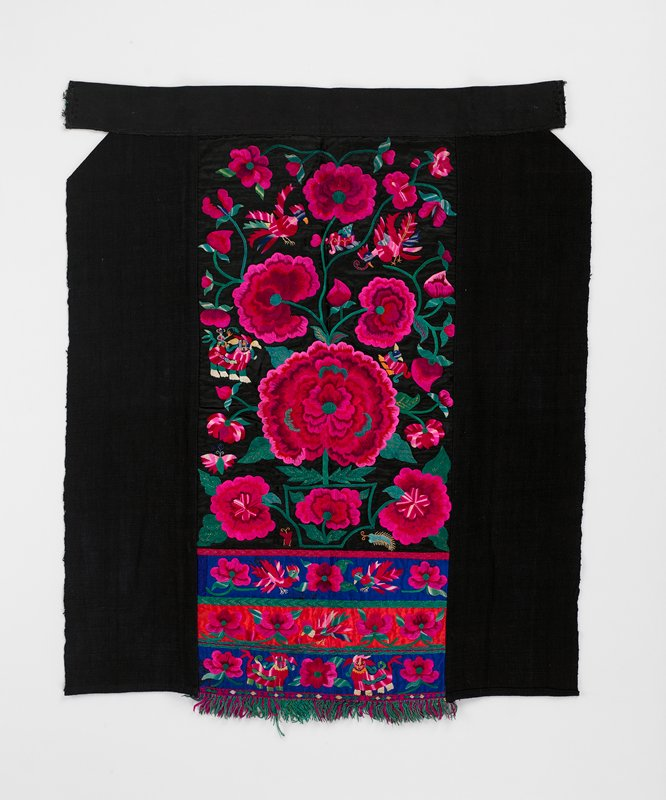 "heavily embroidered center panel, 12"" wide x 19-1/2"" long; flora and fauna, heavy chrysanthemum in pink and green on black, blue and red; black borders, 6-1/2"" on sides of panel; top 2-1/2"" band was once attached to ties; printed fabric lines center panel; fringe of red and green on center panel"