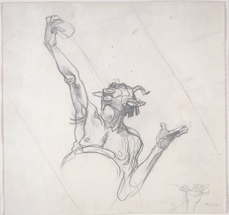study of Satyr's upper torso and arms on verso