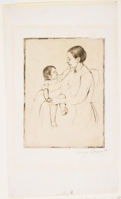 line drawing style; woman in profile, PL, holding a toddler on her lap; child looks at woman and touches PL hand to woman's cheek