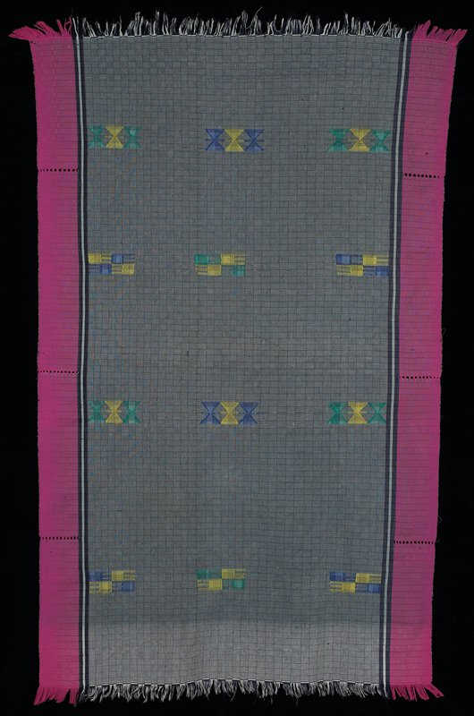 """alternating vertical and horizontal 1"""" strips in wide center section; dark blue/light blue; bordered by 1-1/4"""" blue/light blue stripe; further bordered by 4-3/4"""" magenta band--3 times on each side; open weave; center section has 12 supplimentary weft patterning in green, blue, yellow; both ends are self fringed; at one end, 6"""" portion is blue and white"""