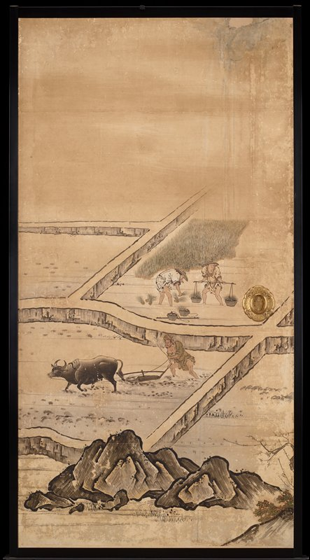 unsigned; from the Saga Palace, Kyoto; man behind plow pulled by ox; two figures in background--one planting, one holding a yoke
