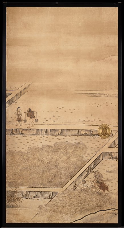 unsigned; from the Saga Palace, Kyoto; two figures at left on walkway between fields--one figure carrying a yoke; two other figures, LRC