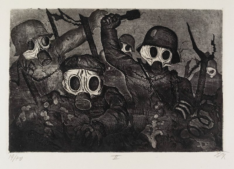 five soldiers wearing gas masks