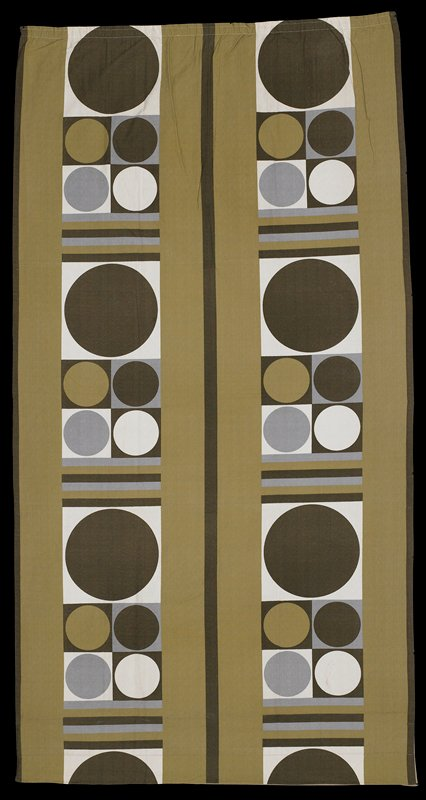 olive with white, brown and grey design of circles in squares and bars