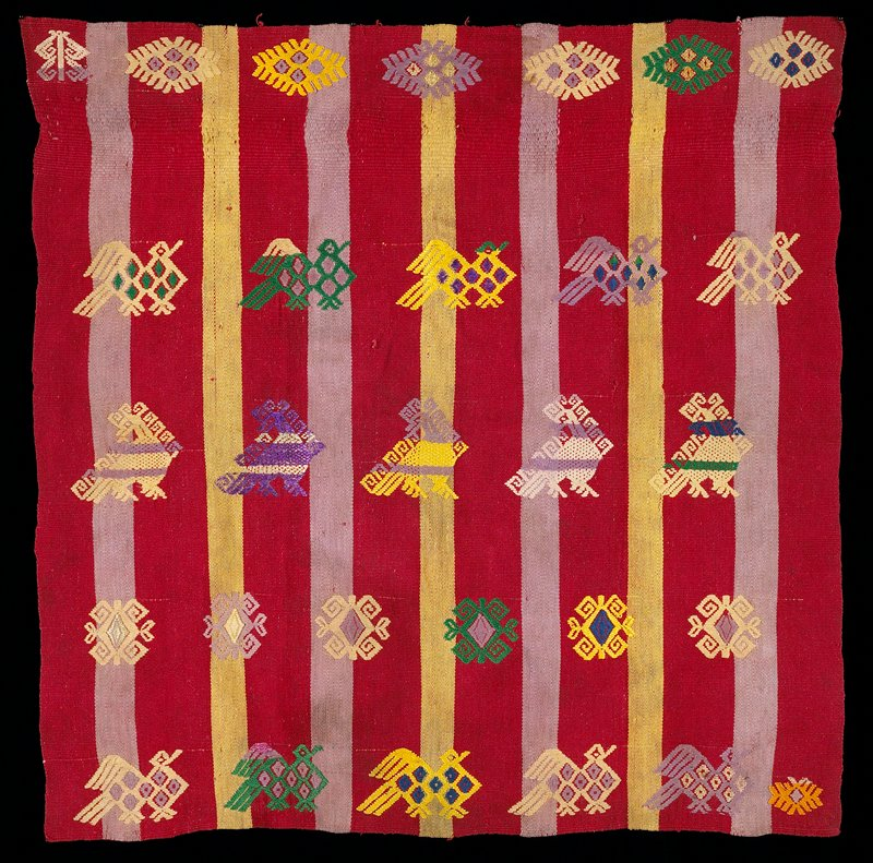 red, yellow, mauve and green; vertical stripes red yellow and mauve with supplementary weft designs of birds and geometrics; four selvedges