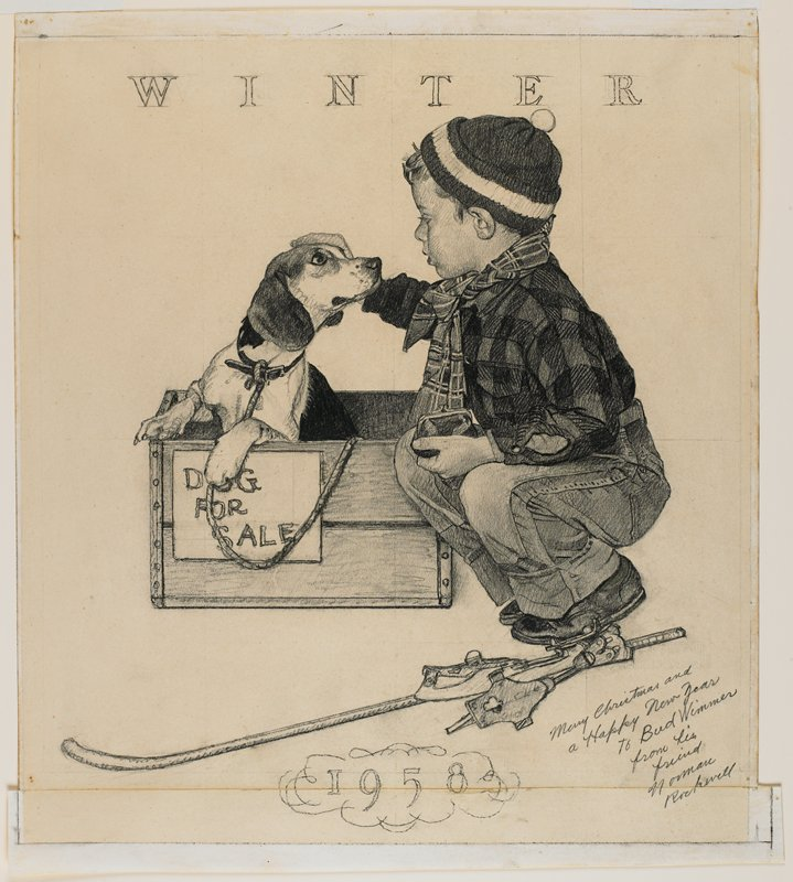 box with puppy, young boy with coin purse in hand squats next to the box and pets the puppy