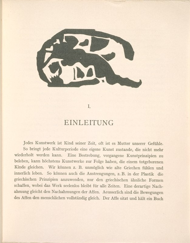treatise on modern art with 10 original woodcuts and text by Vassily Kandinsky; first edition