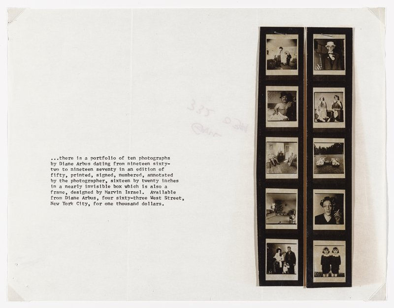"photocopied typewritten text at left; two strips with five contact prints each, stapled and glued at right; images from Diane Arbus' ""A Box of Ten Photographs"""