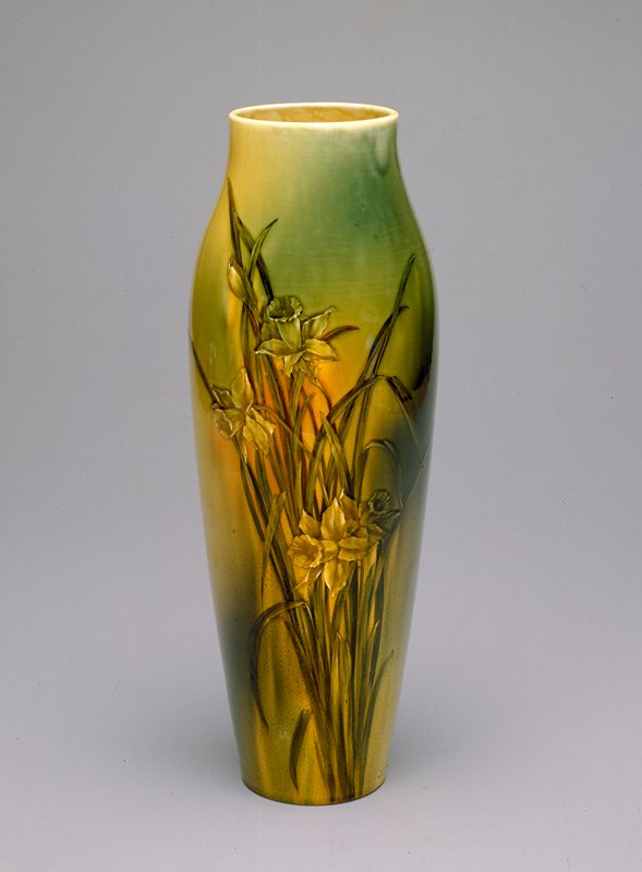 Rookwood Standard ware, pottery with design of daffodils under yellow tinted glaze