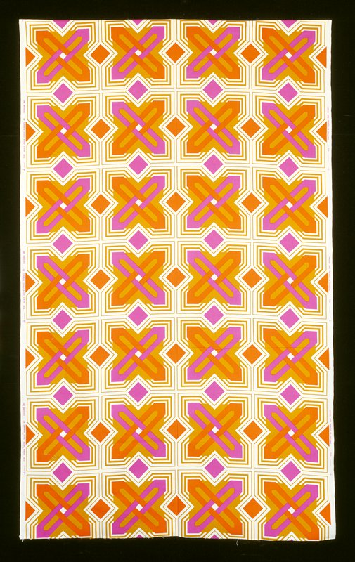 four rows--cross orange and purple on square ochre--bkg. white