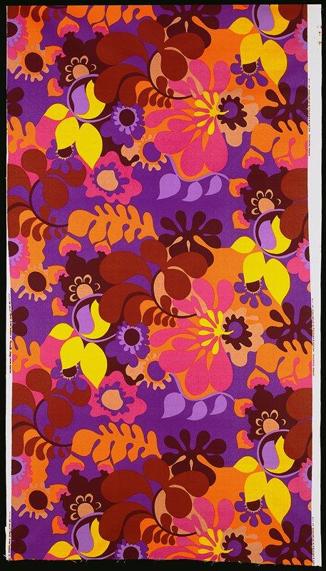 4-1/2 repeats; large flowers and leaves; orange, purple, brown, black, yellow, beige, mauve on bkg. violet