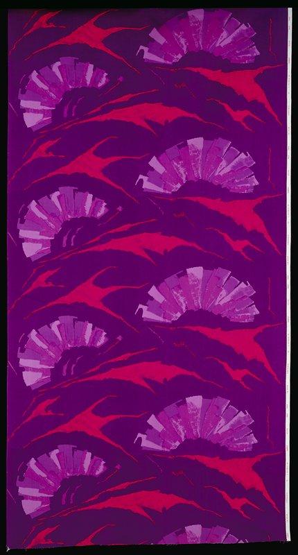 Bkg. violet; pink areas with violet brush traces; fan pattern with mauve, light violet, purple colors