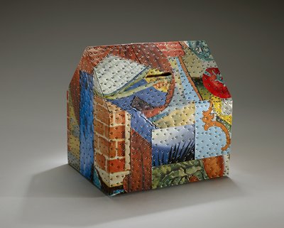 house-shaped box decorated with fruit motif